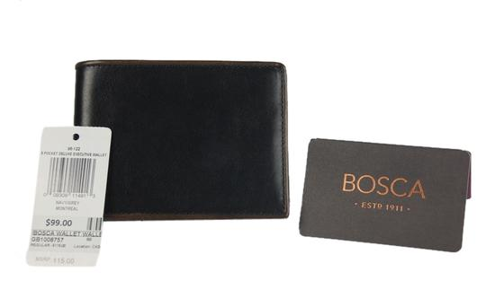 "Bosca * Bosca ""Montreal"" 8 Pocket Deluxe Executive Leather Wallet-Navy/Grey"
