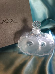 Lalique French Crystal Deux Fleurs Perfume Bottle W/original Box