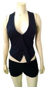 H&M Button Front Vest Size 4 P1455 Top black, white, pin striped