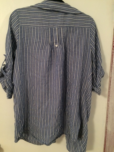 St. John Nautical Classy Tie Button Down Shirt Blue
