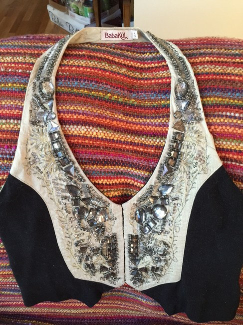 Babakul Black Cotton Dressy Casual Top vest with beads, stones, and embroidery