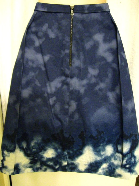 Elie Tahari Pleated Tie Dye Skirt Blue