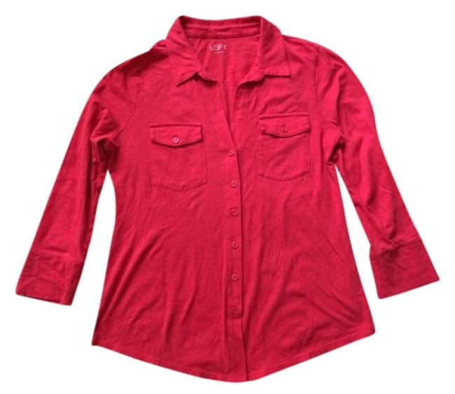 Ann Taylor LOFT Button Down Shirt Red