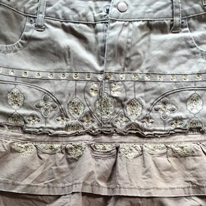 Da-Nang Mini Embellished New Mini Skirt Tan