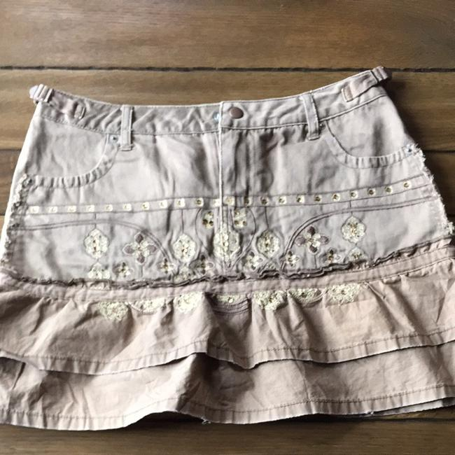 Da-Nang Embellished New Unused Unworn Tag Ruffle Mini Skirt Tan
