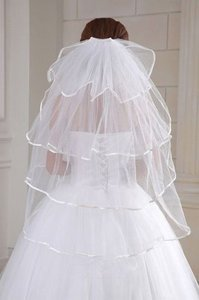 Brand New 4t White Wedding Bridal Elbow Satin Edge Veil