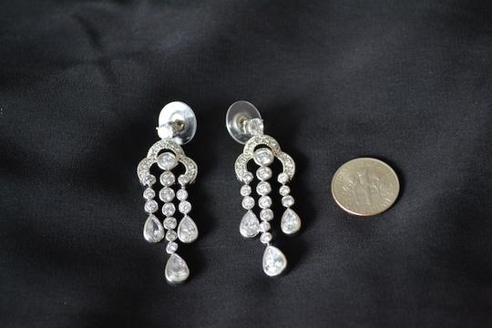 Other Sterling Silver Waterfall Cubic Zirconia Chandelier Earrings
