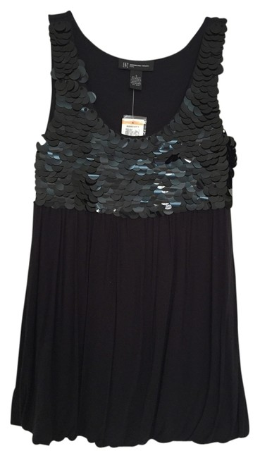 INC International Concepts Petite Embellished Sleeveless Top Black