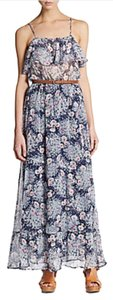 Blue And Pink Floral Maxi Dress by Joie Maxi Belt