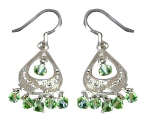 Other Sterling Silver Green Swarovski Crystal Chandelier Earrings