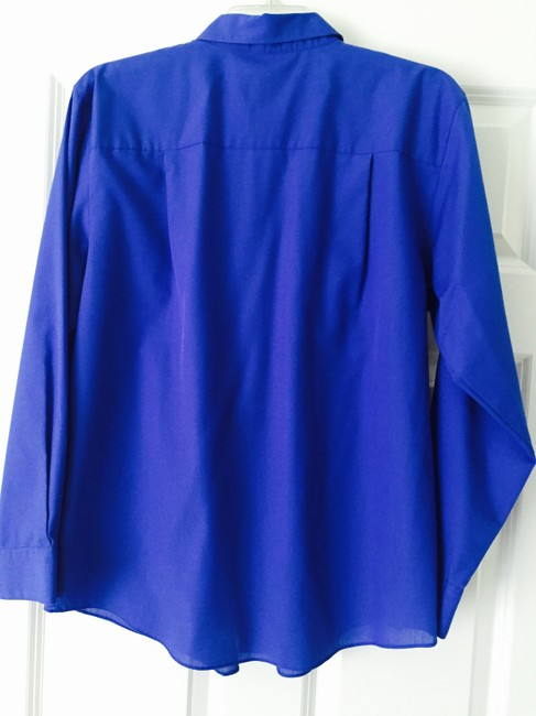 Foxcroft Blue Wrinkle Free Machine Washable Button Down Work Professional Top Royal blue