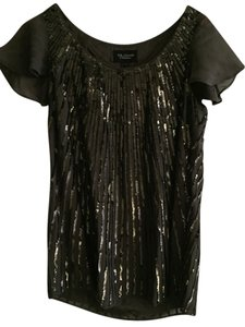 St. John Silk Sequin Designer Top Gray