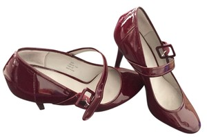 Calvin Klein Bordeaux Patent Mary Jane Burgundy Pumps