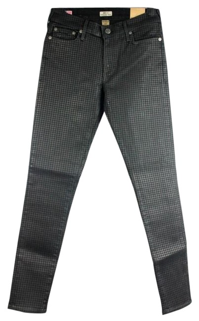 Item - Black/Grey Checkered Coated Halle Super Tone On Tone - W43a999ls2 Skinny Jeans Size 27 (4, S)
