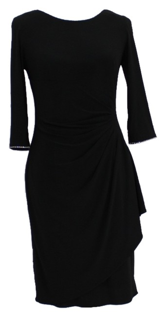 Alex Evenings Ruched 3/4 Sleeve Rhinestone Elegant Feminine Soft Dress
