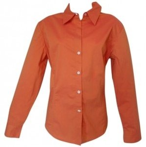 New York & Company Button Down Shirt Tangerine with gold sheen