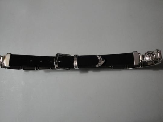 Avanti Avanti Black Leather Medusa Head Greek Key Design Belt 34