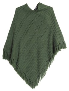 New York & Company Ponch Knit Fringe Hem Cape