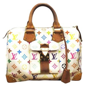 Louis Vuitton White Leather Multicolor Speedy Handbag Monogram Lv Satchel in White Multicolor