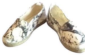 H by Hudson Espadrilles Canvas Marbled White, Beige and Grey Flats