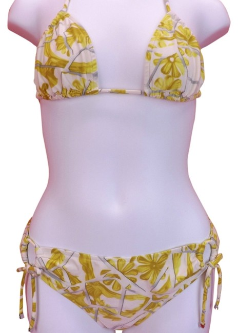 Gucci YELLOW WHITE FLORAL FLOWERS HALTER BIKINI TIE SIDE SWIMSUIT L