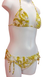 Gucci YELLOW WHITE FLORAL FLOWERS HALTER BIKINI TIE SIDE SWIMSUIT XS