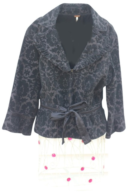 Free People Black and Gray Blazer