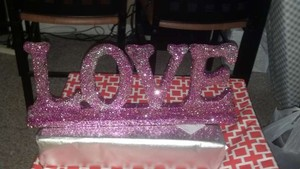 Pink Love Sign Reception Decoration