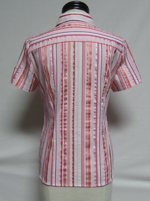 New York & Company Button Down Shirt Pink and White Striped