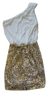 Way-In Sequin White Gold Dress