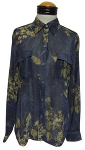 Liz Claiborne Top Blue with Beige Floral Print