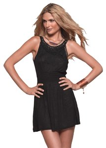 L*Space short dress Black Fringe Mini Spirit Cover-up Sleeveless Elastic Waist on Tradesy