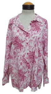 Denim & Co. Button Down Shirt White & Mauve Paisley Print