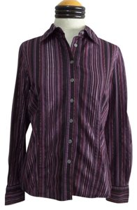 Attention Button Down Shirt Purple & Black Striped