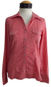 Buffalo David Bitton Western Snap Front Button Down Shirt Pink/Mauve Polka Dot Print