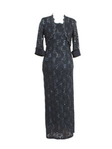 R & M Richards Charcoal Gray Two-piece Long Lace Jacket Dress Dress