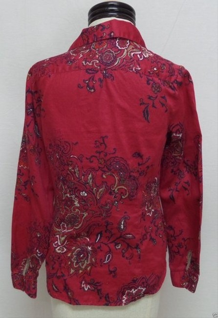 Coldwater Creek Button Down Shirt Dark Red Floral Print