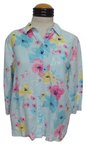 Crazy Horse by Liz Claiborne Button Down Shirt Blue with Multi Color Floral Print