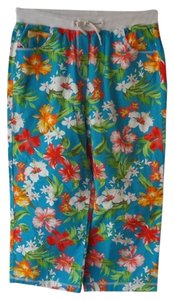 Sag Harbor Capris Blue with Multi Color Tropical/Floral Print