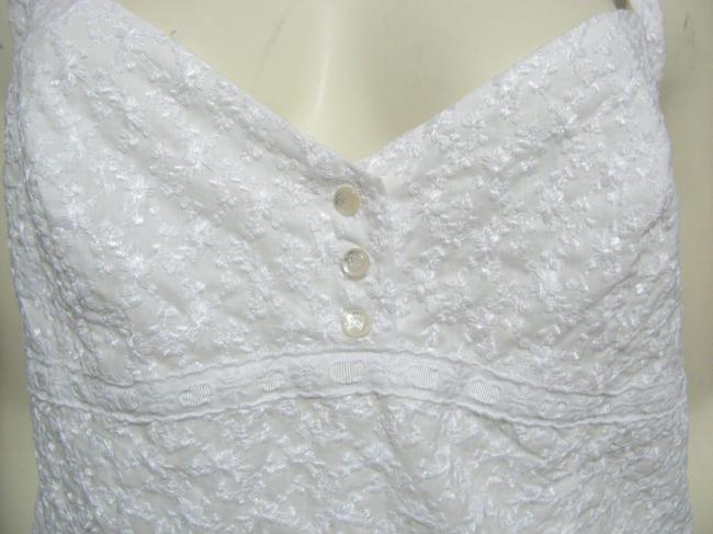 Ralph Lauren Floral Shirt 6 S Small Textured Buttoned Sleeveless Cotton Embroidered Top white