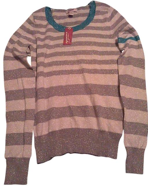 Arizona Jeans Company Embellished Metallic Polyester Cotton Striped Sweater