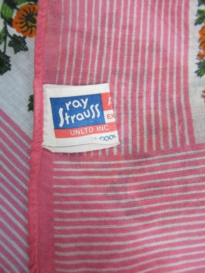 Ray Strauss Pink Scarf Striped Floral Italy Cotton 24x24