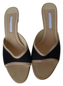 Narciso Rodriguez Kitten Heel Black Canvas Leather Italy Black Beige Mules