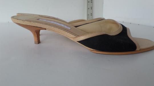 Narciso Rodriguez Kitten Heel Canvas Leather Italy Black Beige Mules