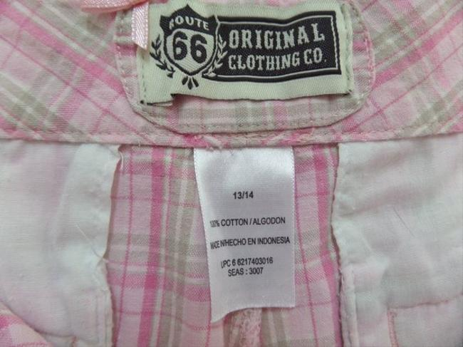 Route 66 Bermuda Shorts Pink & Beige Plaid Print
