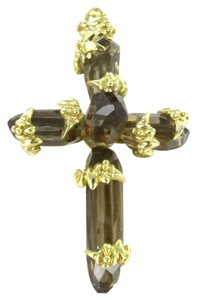 handmade 18KT KARAT Yellow Gold Pendant STUNNING 5 TOPAZ BIG CRYSTAL CROSS Handmade