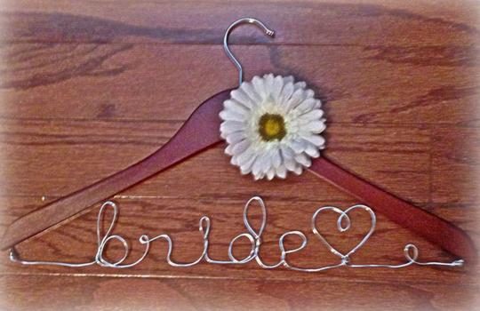 Wooden Hanger with White Gerber Daisy Bride Wedding Gown