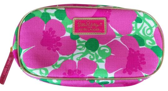Lilly Pulitzer White with pink/green flower design and gold trim Clutch
