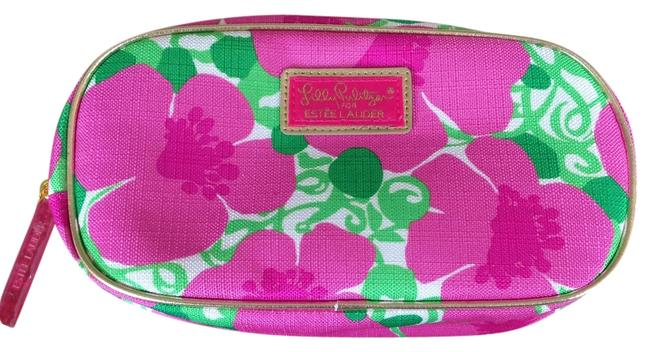 Item - For Estee Lauder Makeup White with Pink/Green Flower Design and Gold Trim Clutch
