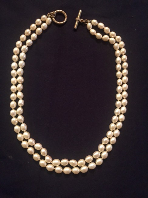 """Item - Pearl Double with Sterling Silver Diamond Toggle - 18"""" Necklace"""